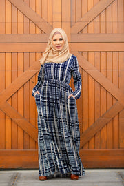 Blue and White Jersey Maxi Dress