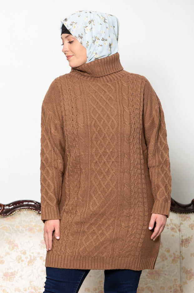 Mocha Cable Turtleneck Sweater-CLEARANCE