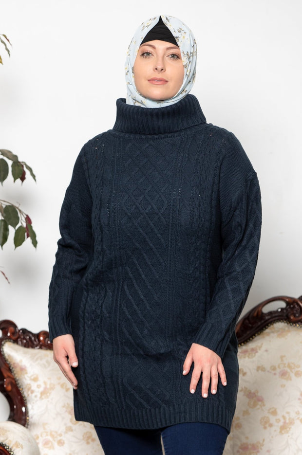 Navy Blue Cable Turtleneck  Sweater