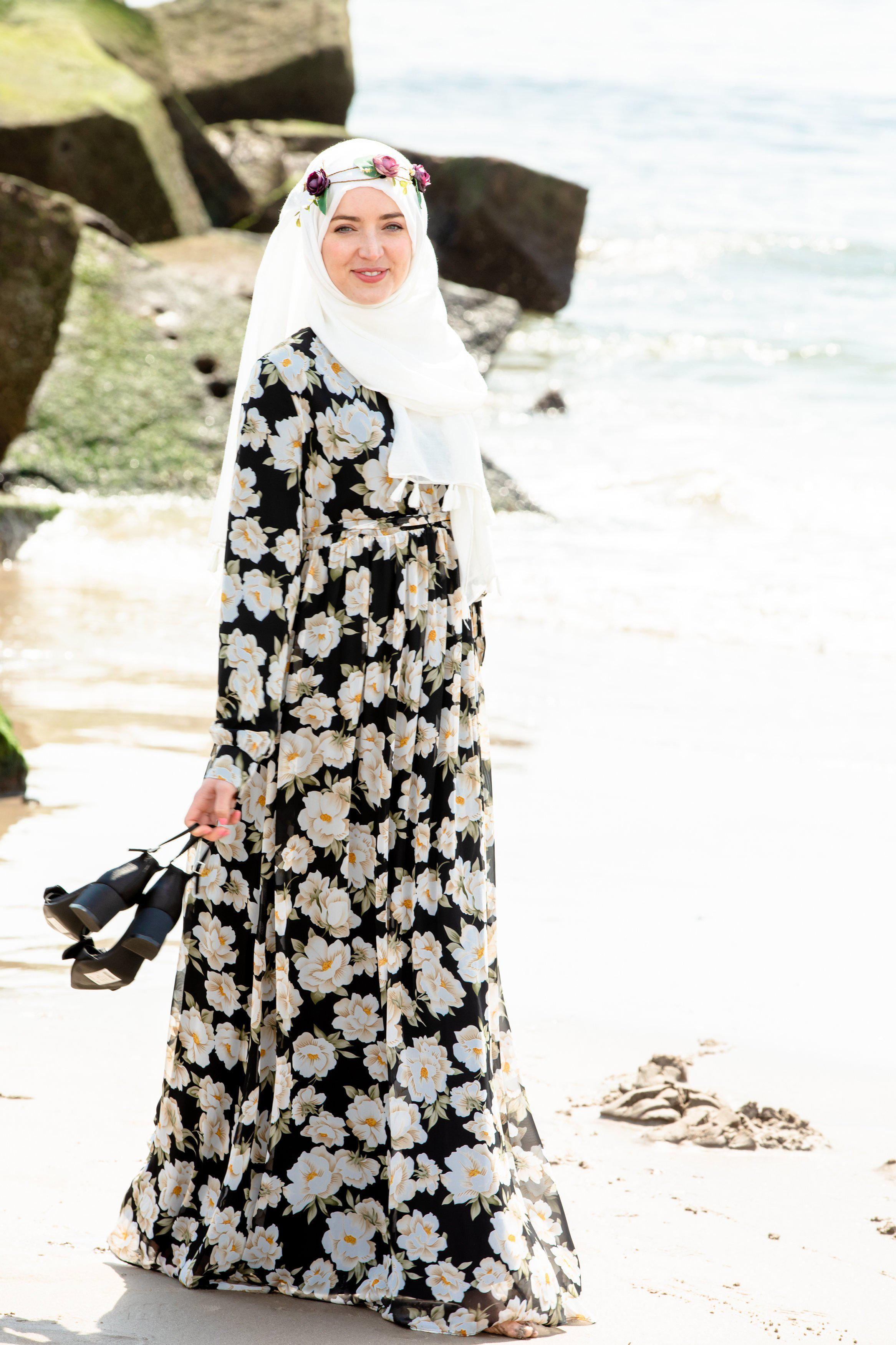 5d057a4ab4 Black & White Sunflower Floral Maxi Dress With Sleeves-CLEARANCE - Abaya,  Hijabs,