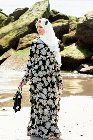 Black & White Sunflower Floral Maxi Dress With Sleeves-CLEARANCE - Abaya, Hijabs, Jilbabs, on sale now at UrbanModesty.com