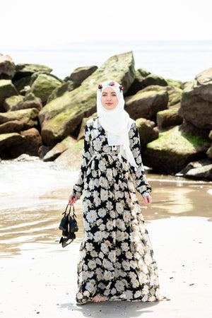 Black & White Sunflower Floral Wrap Maxi Dress With Sleeves - Abaya, Hijabs, Jilbabs, on sale now at UrbanModesty.com