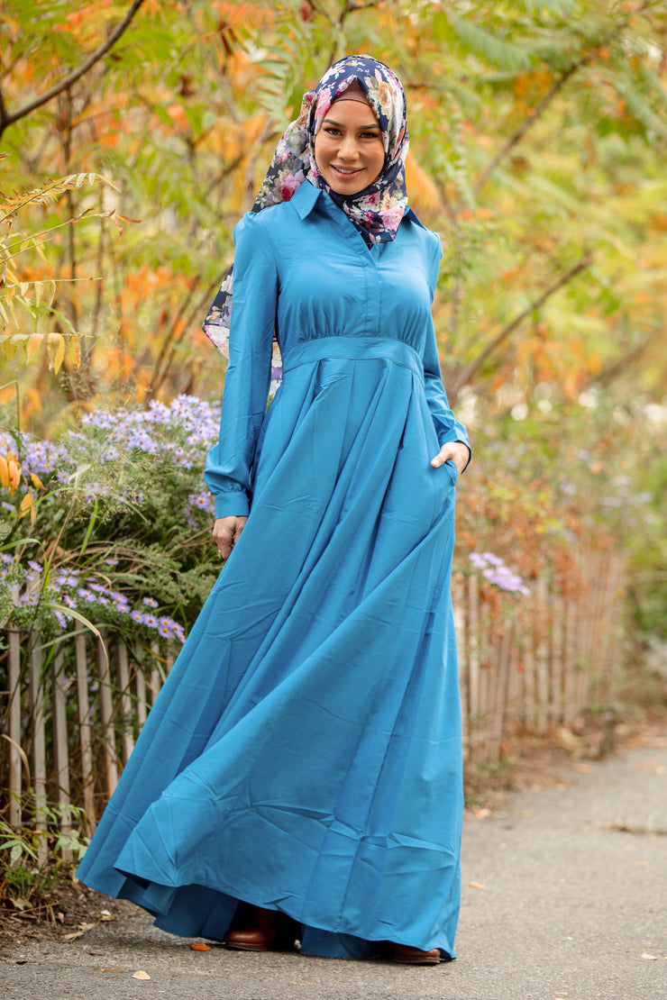 Blue Lattice Abaya Maxi Dress