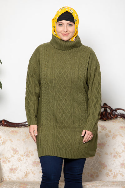 Olive Green Cable Turtleneck Sweater-CLEARANCE