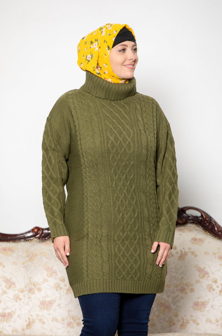 Olive Green Cable Turtleneck  Sweater