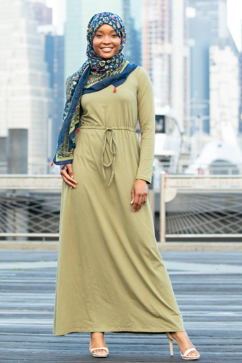 Sage Green Drawstring Cotton Long Sleeve Maxi Dress - Abaya, Hijabs, Jilbabs, on sale now at UrbanModesty.com