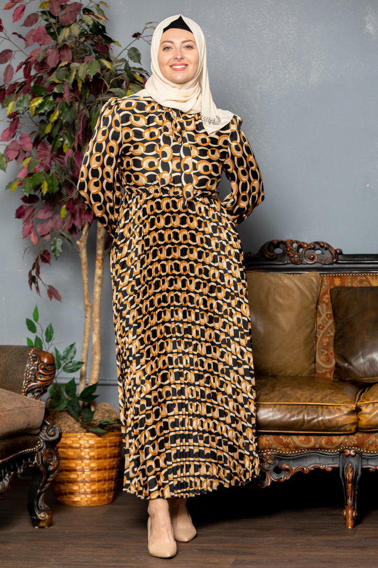 Gold Chains Pleated Long Sleeve Maxi Dress