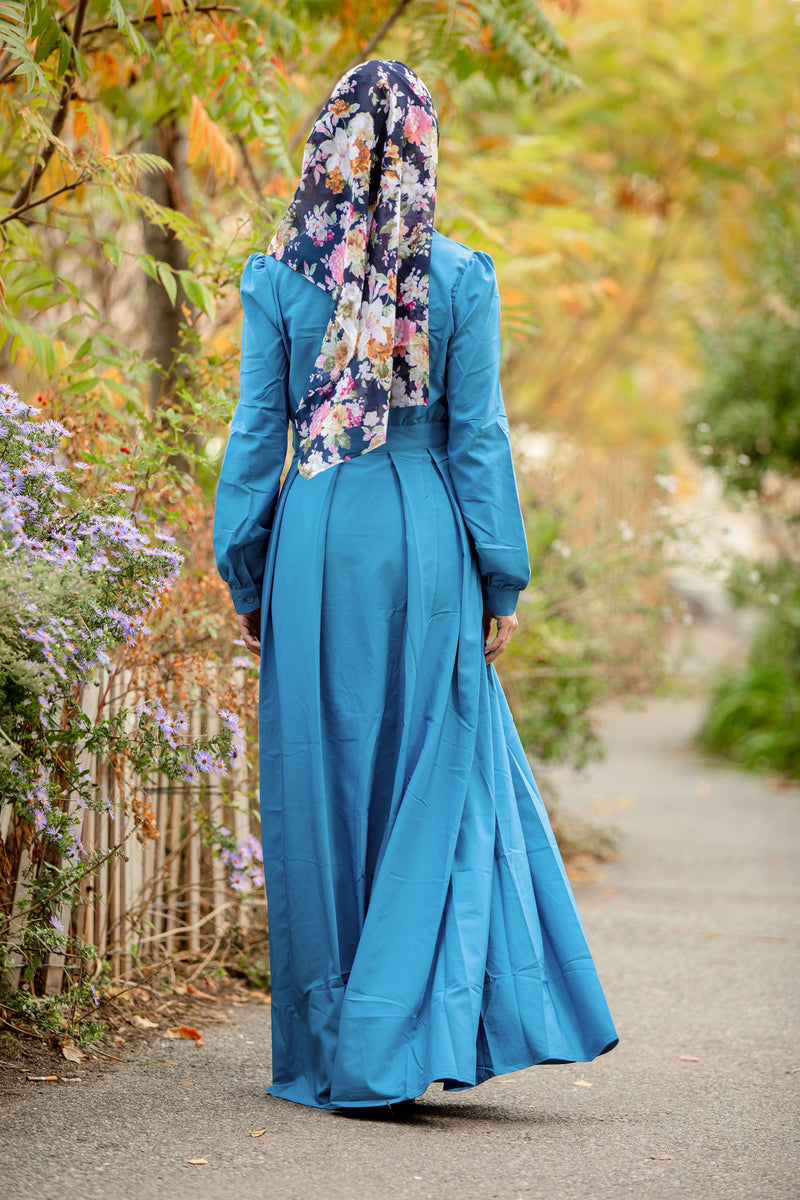 Green and Blue Printed Tassel Cotton Hijab - Abaya, Hijabs, Jilbabs, on sale now at UrbanModesty.com