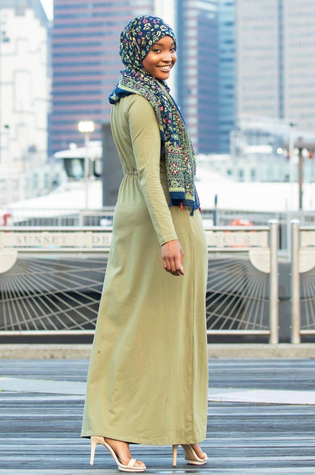 Sage Green Drawstring Cotton Long Sleeve Maxi Dress-Clearance - Abaya, Hijabs, Jilbabs, on sale now at UrbanModesty.com