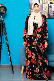 Black Floral Drawstring Maxi Dress