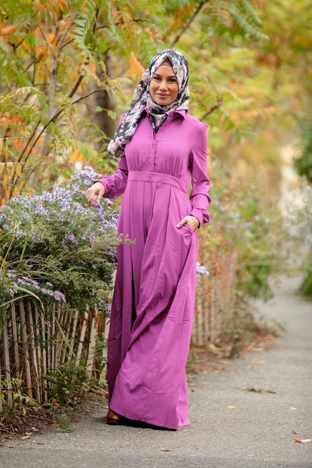 Magenta Lattice Abaya Maxi Dress