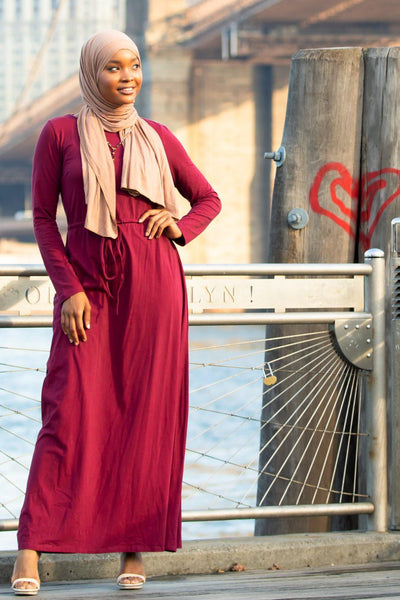Maroon Drawstring Cotton Long Sleeve Maxi Dress-Clearance - Abaya, Hijabs, Jilbabs, on sale now at UrbanModesty.com