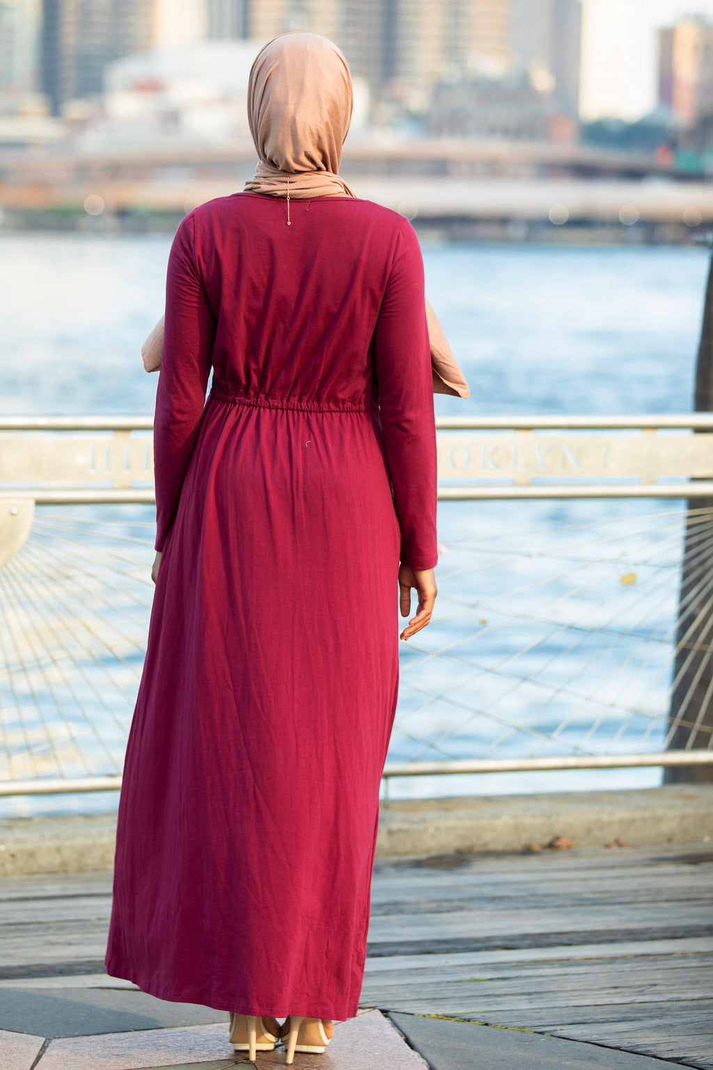 Maroon Drawstring Cotton Long Sleeve Maxi Dress - Abaya, Hijabs, Jilbabs, on sale now at UrbanModesty.com