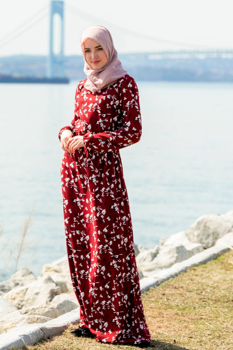 Black Cherry Floral Drawstring Maxi Dress With Sleeves - Abaya, Hijabs, Jilbabs, on sale now at UrbanModesty.com