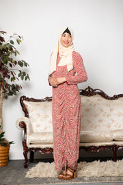 Maroon Floral Ruched Maxi Dress