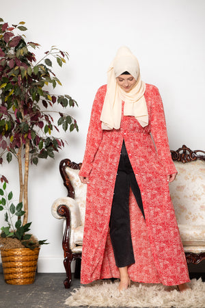Dusty Pink Lace Open Front Abaya - Abaya, Hijabs, Jilbabs, on sale now at UrbanModesty.com