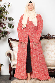Cream and Coral Spotted Non-Sheer Maxi Cardigan