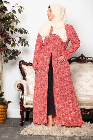Dusty Pink Lace Open Front Abaya- Clearance - Abaya, Hijabs, Jilbabs, on sale now at UrbanModesty.com