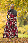 Berry Multi Jersey Long Sleeve Maxi Dress - Abaya, Hijabs, Jilbabs, on sale now at UrbanModesty.com