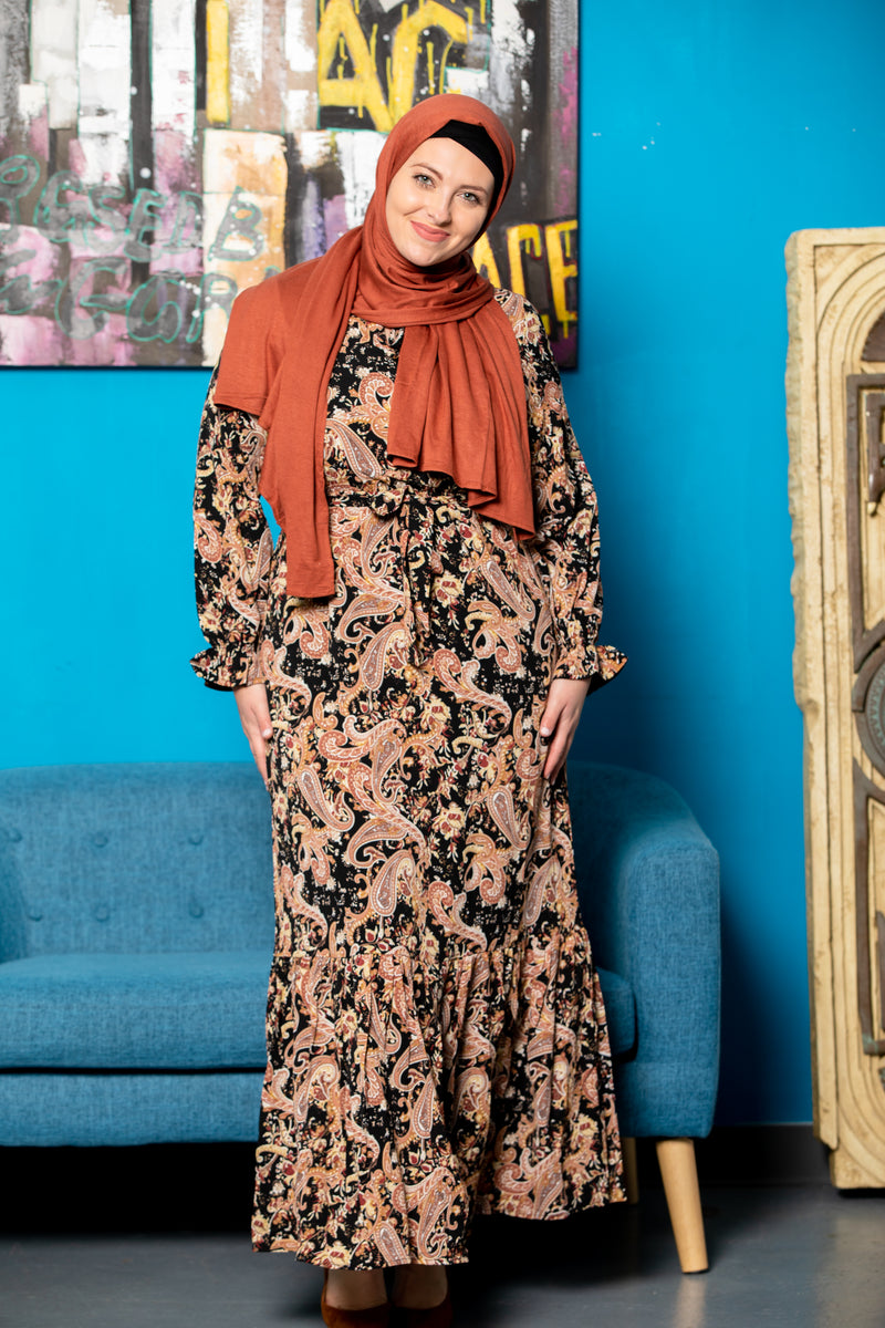 Cherry Blossom Floral Ruffle Long Sleeve Maxi Dress - Abaya, Hijabs, Jilbabs, on sale now at UrbanModesty.com