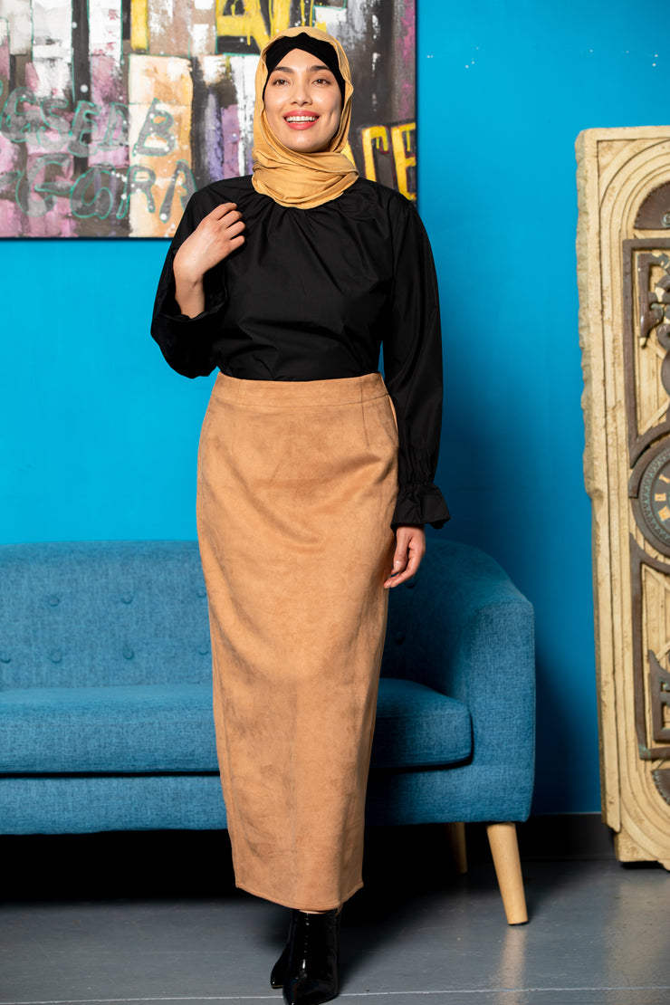 Camel Suede Pencil Maxi Skirt