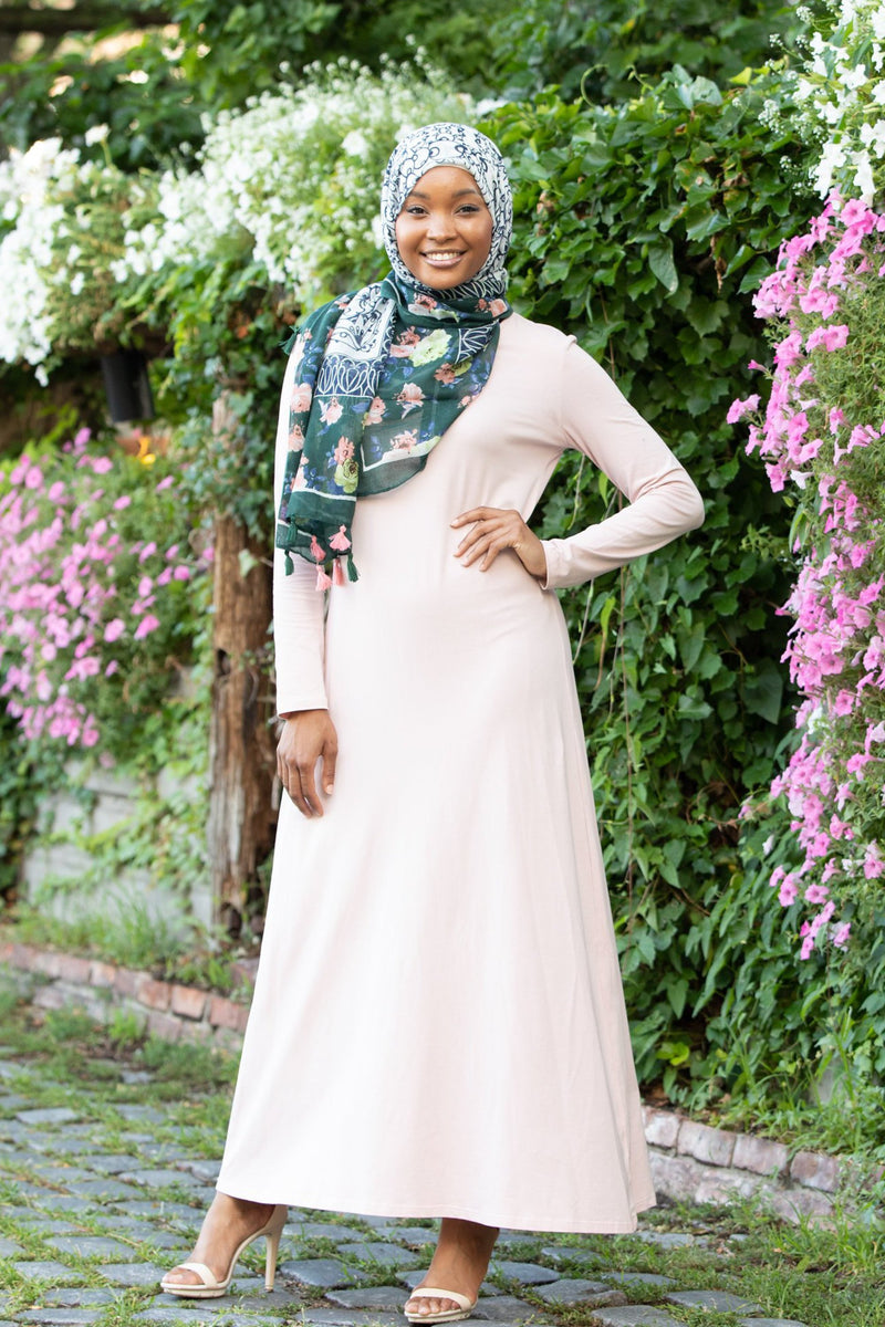 Pale Pink Cotton Long Sleeve Maxi Dress - Abaya, Hijabs, Jilbabs, on sale now at UrbanModesty.com