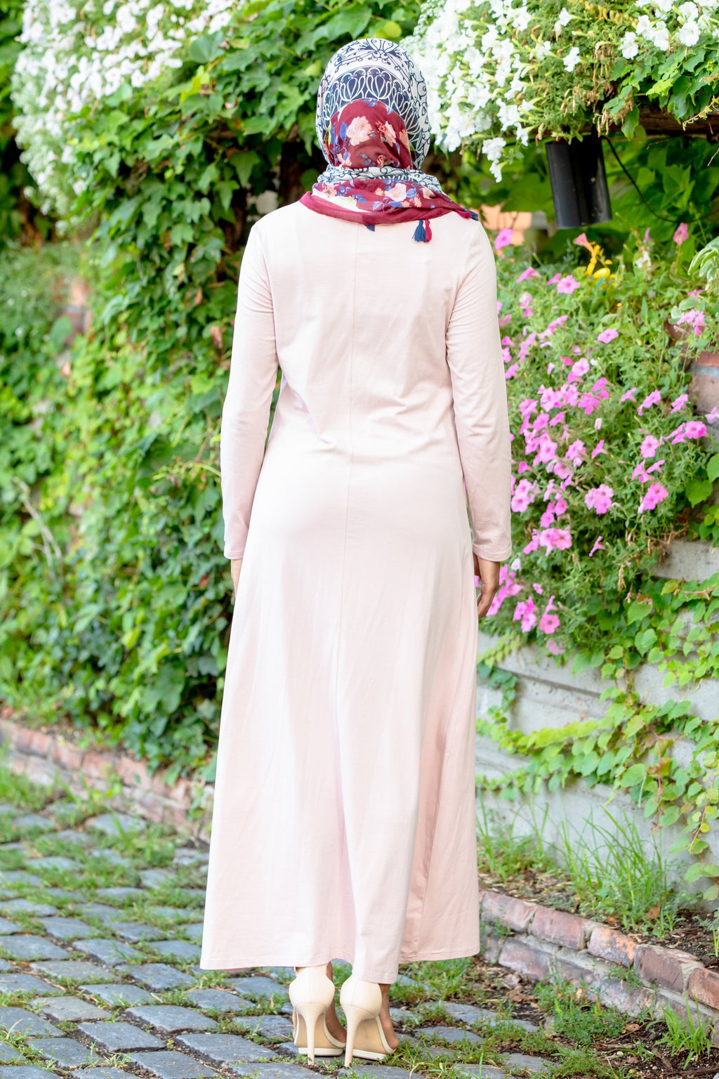 Pale Pink Cotton Long Sleeve Maxi Dress-Clearance - Abaya, Hijabs, Jilbabs, on sale now at UrbanModesty.com