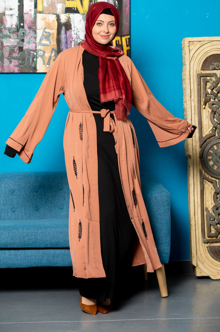 Copper Feather Beaded Open Front Abaya