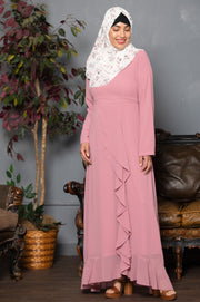 Pink Ruffle Floral Maxi Dress With Sleeves