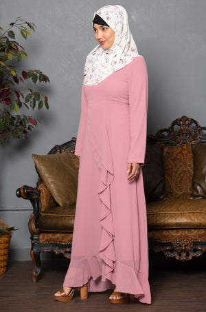 Teal Orchid Floral Drawstring Maxi Dress With Sleeves-Clearance - Abaya, Hijabs, Jilbabs, on sale now at UrbanModesty.com