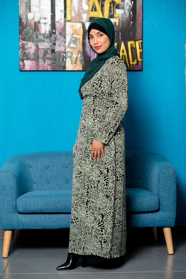 Black and Pink Floral Cover Up Maxi Cardigan (Sheer)-Clearance - Abaya, Hijabs, Jilbabs, on sale now at UrbanModesty.com