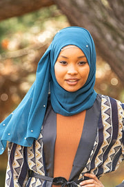 Teal Pearl Chiffon Hijab - Abaya, Hijabs, Jilbabs, on sale now at UrbanModesty.com