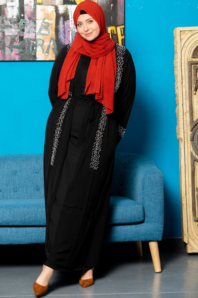 Black Beaded Open Front Abaya
