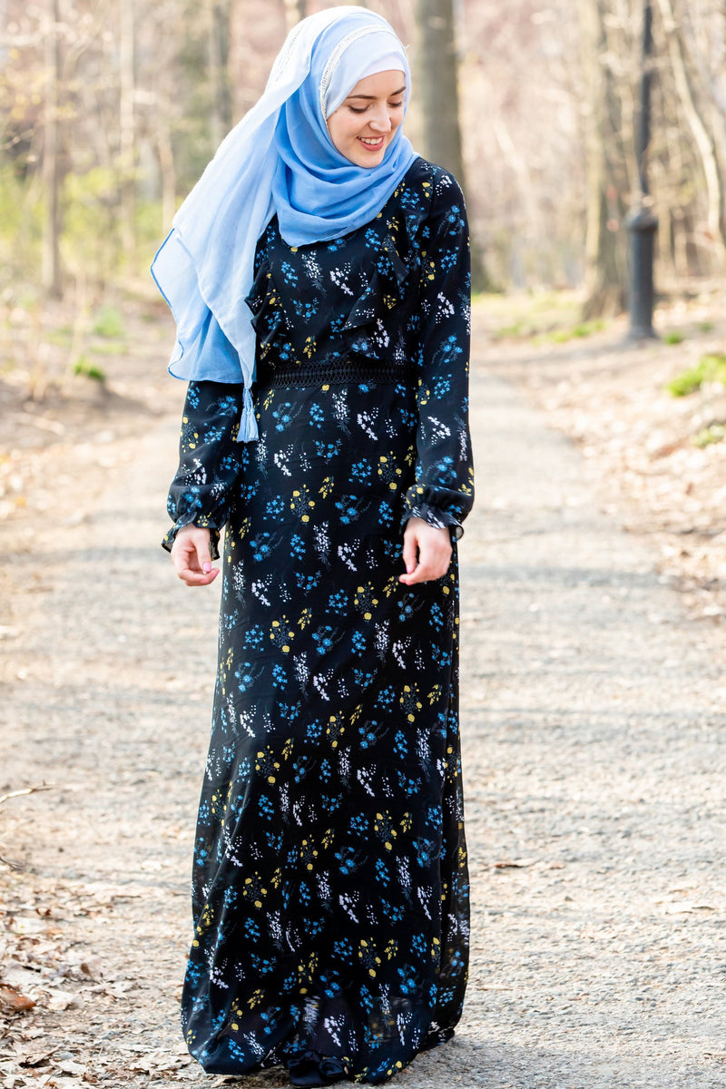 Black Floral Ruffle Long Sleeve Maxi Dress-CLEARANCE - Abaya, Hijabs, Jilbabs, on sale now at UrbanModesty.com
