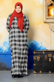 Black and White Plaid Non-Sheer Maxi Cardigan