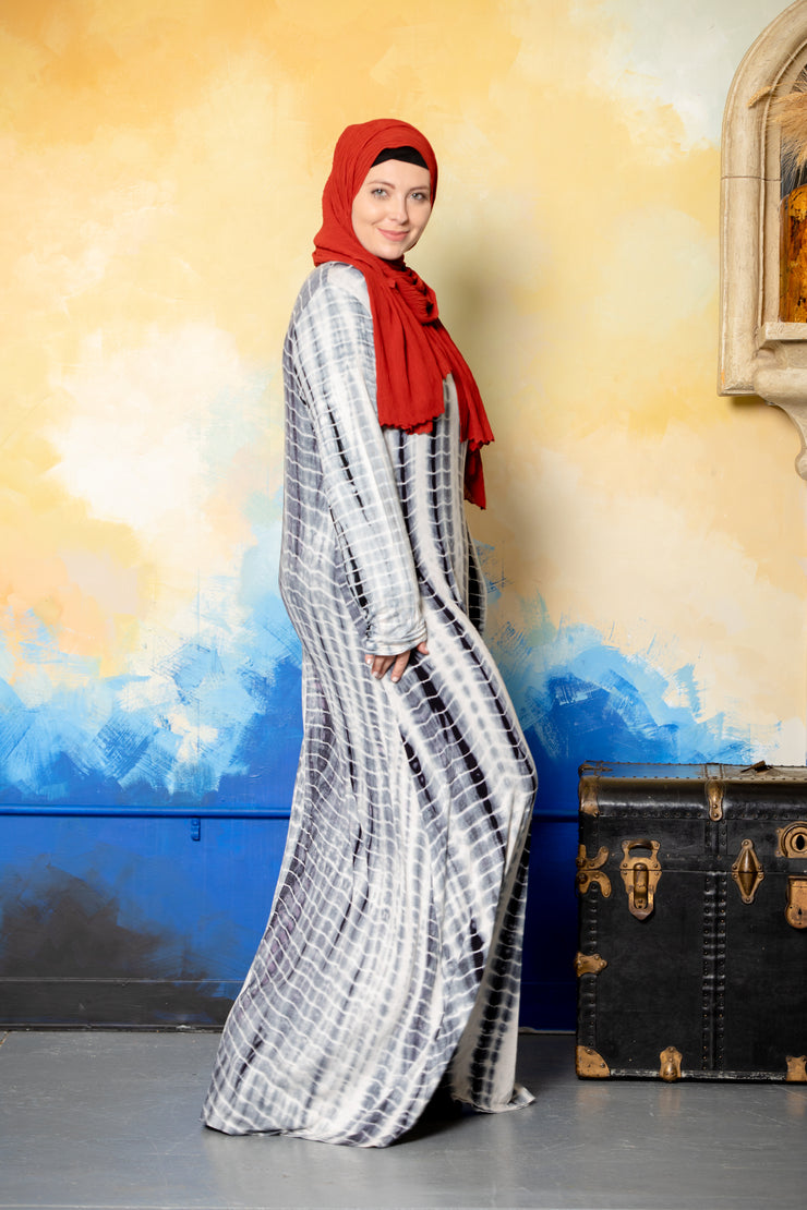 Tribal Black and White Long Sleeve Maxi Dress