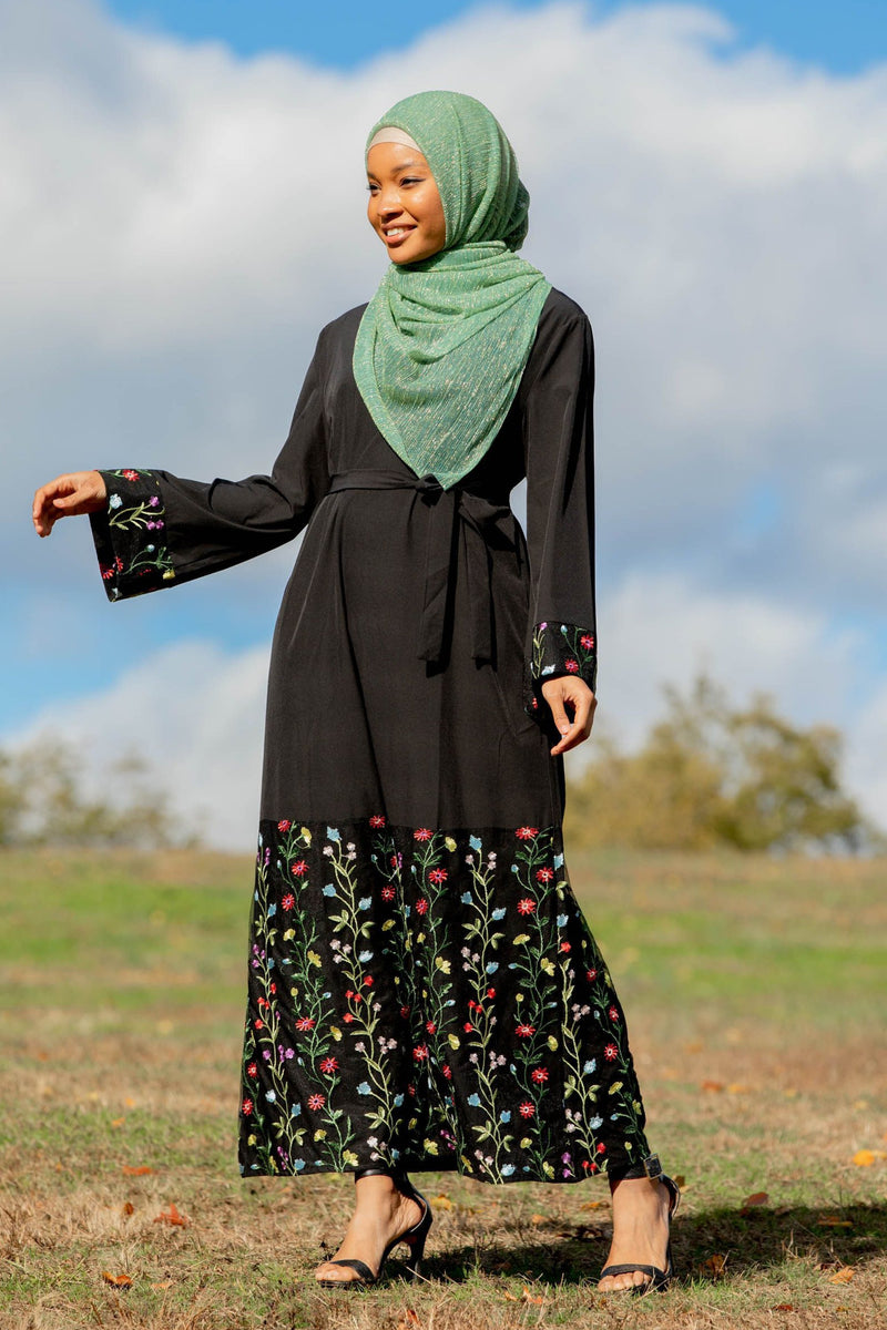 Black Floral Embroidered Kimono Sleeve Abaya Dress