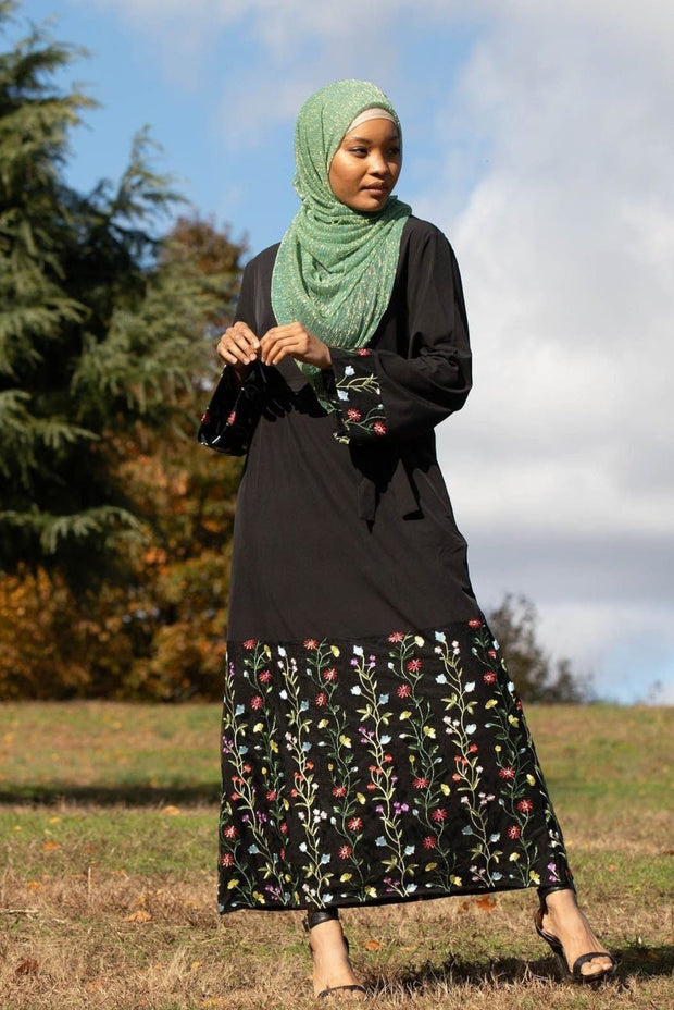 Black Floral Embroidered Kimono Sleeve Abaya Dress-Clearance