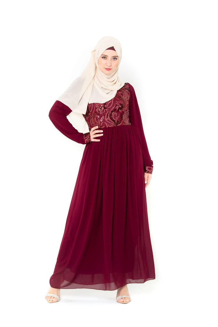Aliyah Long Sleeve Evening Gown-Clearance