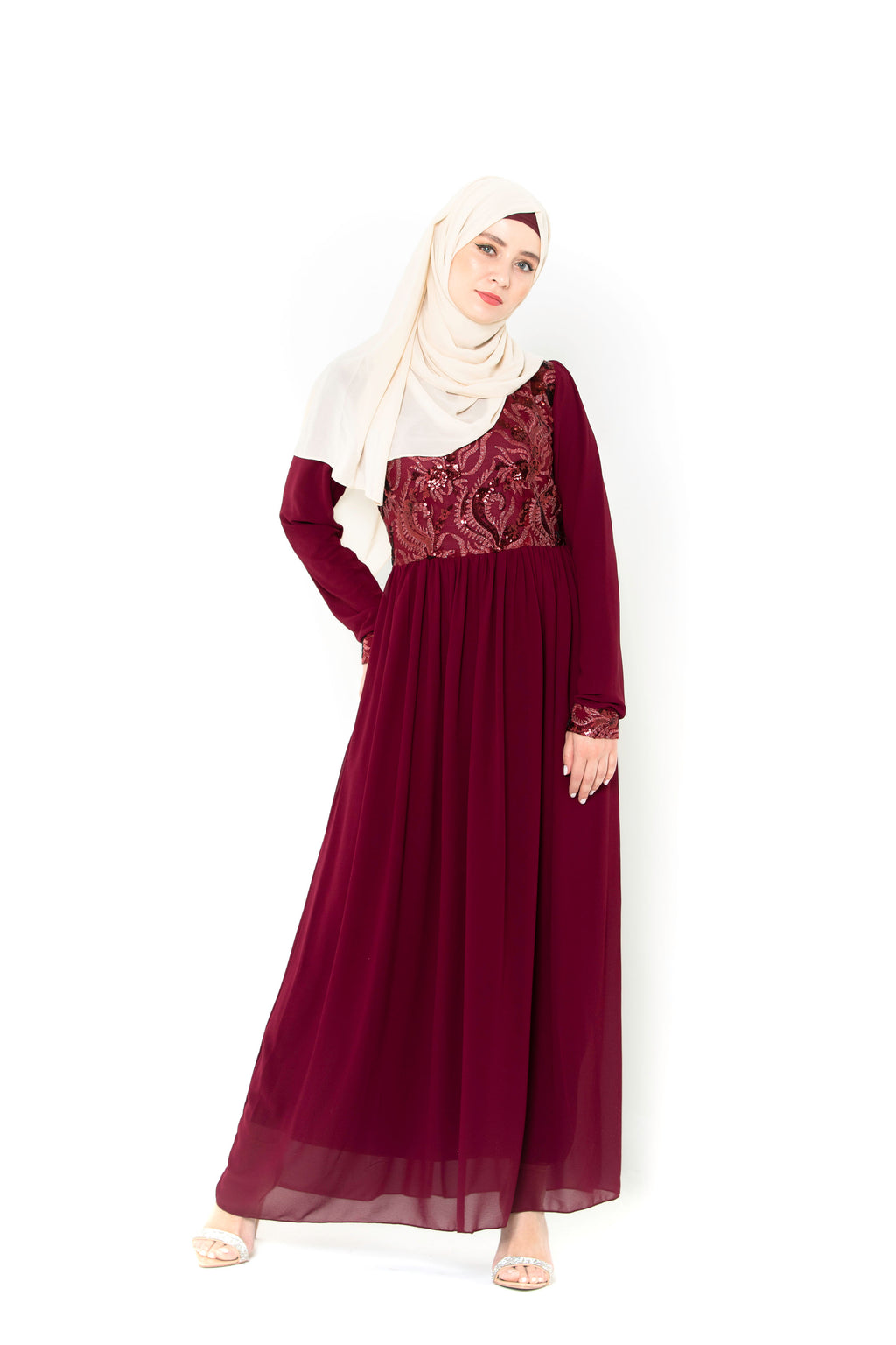 Red Pleated Shimmer Hijab-Hijabs-Urban Modesty Inc.