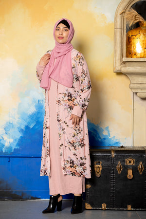 Blue Floral Ruffle Non-Sheer Maxi Cardigan-Clearance - Abaya, Hijabs, Jilbabs, on sale now at UrbanModesty.com