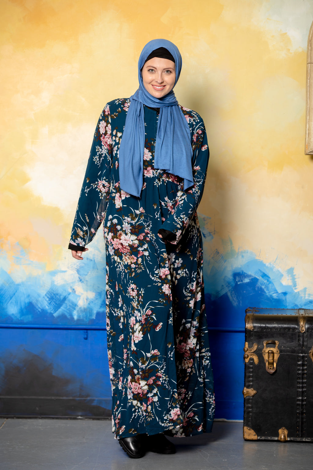 Gray Floral Applique Open Front Abaya-Open Front Abaya-Urban Modesty Inc.