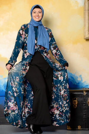 Burgundy Floral Non-Sheer Maxi Cardigan - CLEARANCE - Abaya, Hijabs, Jilbabs, on sale now at UrbanModesty.com