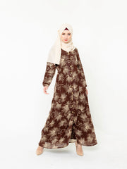 Stardust Brown Floral Button Down Maxi Dress-CLEARANCE
