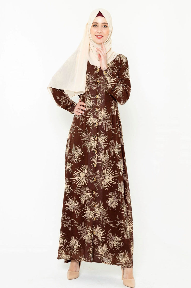 Stardust Brown Floral Button Down Maxi Dress