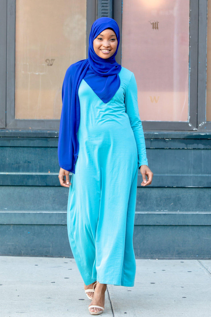 Sea Blue Cotton Long Sleeve Maxi Dress-Clearance - Abaya, Hijabs, Jilbabs, on sale now at UrbanModesty.com