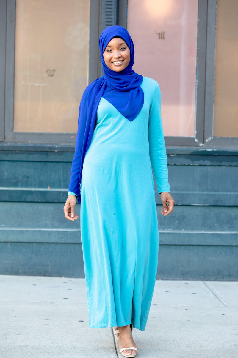 Sea Blue Cotton Long Sleeve Maxi Dress-new maxi dress-Urban Modesty Inc.