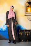 Gray Floral Applique Open Front Abaya - Abaya, Hijabs, Jilbabs, on sale now at UrbanModesty.com