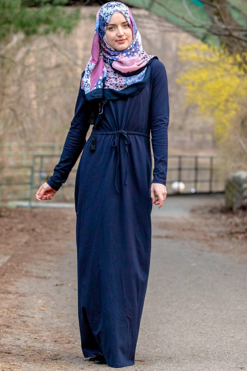 Navy Blue Drawstring Cotton Long Sleeve Maxi Dress - Abaya, Hijabs, Jilbabs, on sale now at UrbanModesty.com