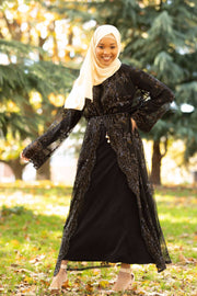 Black Sequin Sheer Open Front Abaya-CLEARANCE